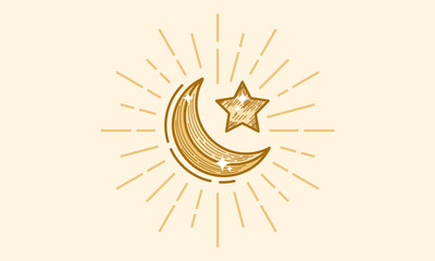 Luxury Gold Hand Drawn Ramadan Kareem wallpaper, Moon and Star Background