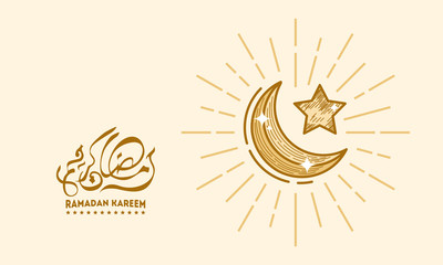 Luxury Gold Hand Drawn Ramadan Kareem wallpaper, Moon and Star Background, Arabic Ramadan Kareem wallpaper
