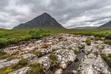 Scottish landscape with Buachaille Etive Mor, the most famous mountain of Glencoe valley, Highlands, Scotland, Britain