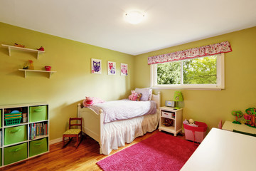 Adorable girl's bedroom in green and red tones