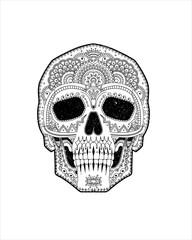 Dia de los muertos Mexico, catrina, calavera, esqueleto, humana, halloween, muerto, anatomía,  negro, blanco, horror, peligro, cara, ilustración
