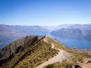Roy's Peak Lookout Mountaneous Blue Lake Landscape, New Zealand