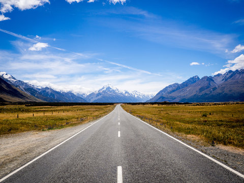 The Road to New Zealand Surrounded by Mountains and Grassland to Mt Cook