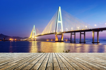 Sea bridge night view