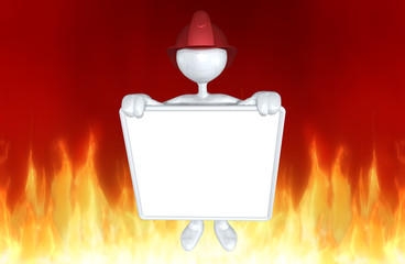 The Original 3D Character Illustration Fire Fighter With A Blank Sign
