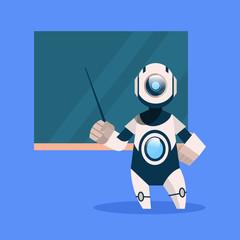 Wall Mural - Robot Teacher On Blue Background Concept Modern Artificial Intelligence Technology Flat Vector Illustration