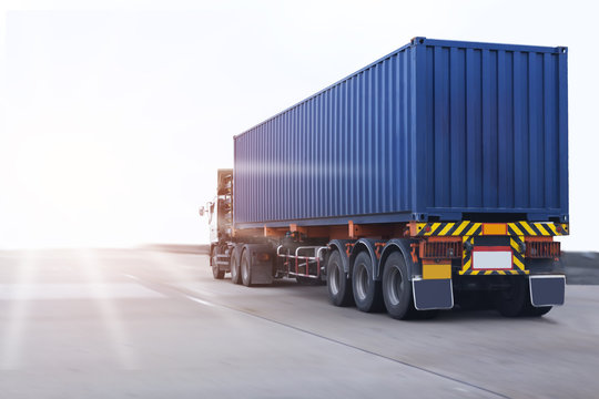 Truck on road with container, transportation concept.,import,export logistic industrial Transporting Land transport on the asphalt expressway