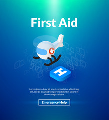 First aid poster of isometric color design