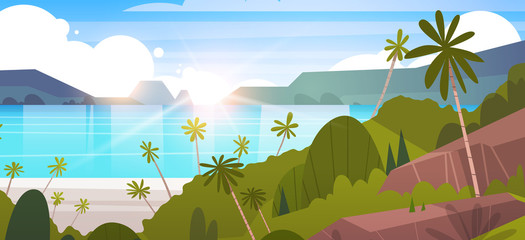 Tropical Landscape Summer Seaside Beach With Palm Tree And Mountains Flat Vector Illustration
