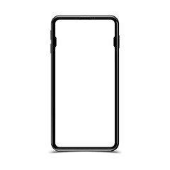Mock-up realistic black smartphone on a white background. Flat vector illustration EPS 10