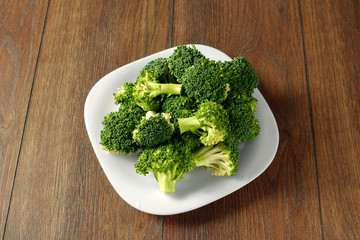 Healthy Green Organic Raw Broccoli Florets Ready for Cooking. The concept of healthy eating, detox. copy space