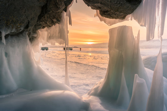 Freezing Ice cave beautiful after sunset sky, Baikal Southern Siberia Russia winter season natural landscape