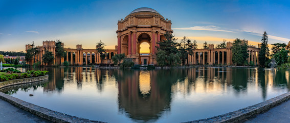 Palace of Fine Arts at sunset in San Francisco California Wall mural