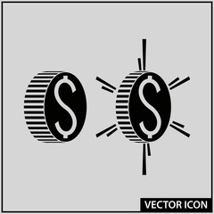 vector money icon in the form of a coin