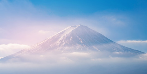 Fuji Mountain on peak with blue sky background, natural landscape Japan