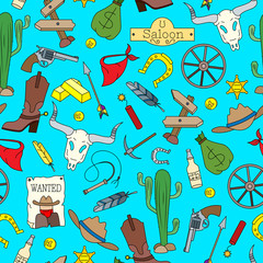 Seamless pattern on the theme of the wild West, colored cartoon icons on blue background