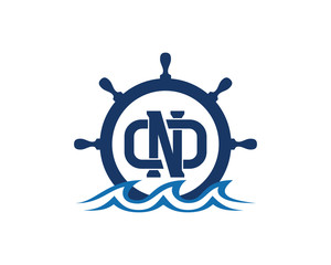 Ship and Boat Helm Steering Wheel with Initial Name Letter DND on The Wave Water Ocean Logo Symbol