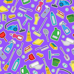 Seamless pattern on the theme of cleaning and household equipment and cleaning products,color patch icons on  purple background