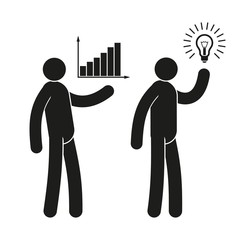 Business icons of people with growth chart and  light bulb idea