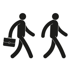 Pictogram icon man walks with a briefcase and without