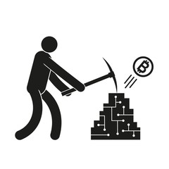 Pictogram man with a pickaxe mining crypto currency bitcoin