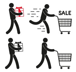 Pictogram people  with  shopping cart and  gift on sale.