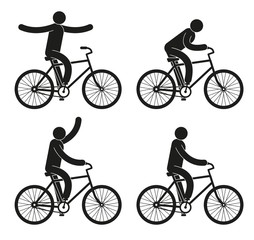 Pictograms people riding a bicycle set - hands free, gaining speed, welcomes