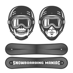 Snowboarding logo with man's head in helmet and goggles, snowboard and heraldic ribbon. Retro style. Worn texture and dots on separate layers and can be disabled.