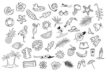 collection set of hand drawn outlined summertime item objects  sketchy doodles, flamingo, toco toucan pineapple watermelon surfer fish leaf palms people floats clothers