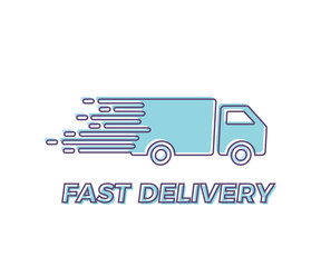 Fast Shipping service Icon with truck driving fast. Vector trendy outline illustration for express delivery concepts