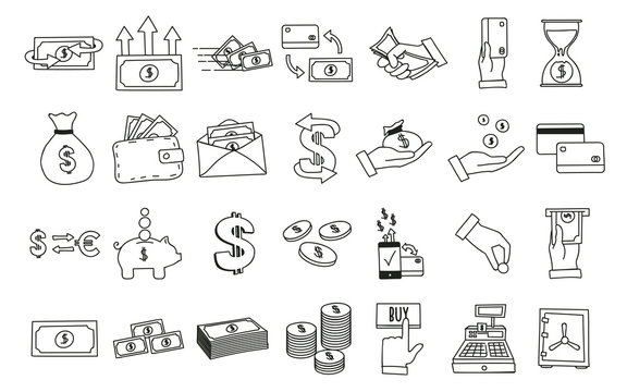 Set of hand drawn money related icons. Vector doodle illustrations with money, finance and commerce subjects.