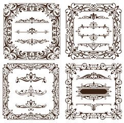 vintage design elements ornaments frames corners curbs retro and damask stickers