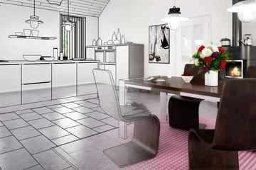 Contemporary kitchen renovation (illustration)