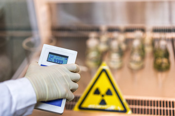 the scientist keeps a dosimeter in his hand to measure the level of radioactive contamination