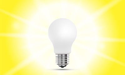 Concept on the topic of ideas. A realistic light bulb with lighting isolated on yellow background with shadow