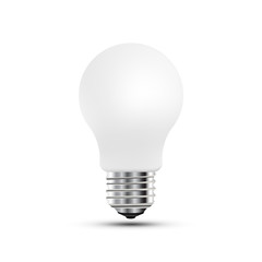 Concept on the topic of ideas. A realistic light bulb isolated on white background with shadow