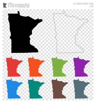 Minnesota high detailed map. Us state silhouette icon. Isolated Minnesota black map outline. Vector illustration.
