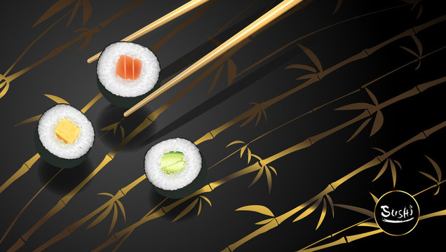 Sushi poster or flyer design temple, Vector clip art illustration.