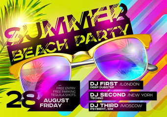 Summer Beach Party Poster for Music Festival. Electronic Music Cover Design for Summer Fest or DJ Party Flyer. Bright Green Background with Sunglasses and Palm Leaf. Summer Vibes.