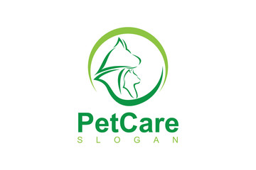pet care with dog and cat for logo