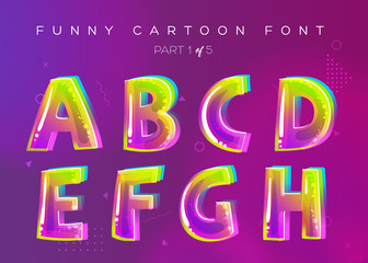 Kids Vector Font in Cartoon Style. Bright and Colorful 3D Letters. School Funny English Alphabet Illustration. Children ABC in Green, Pink, Blue Colors. Rounded Type for Game Design, Word Card, Party.