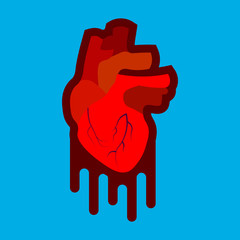 Stylized human heart anatomy icon. Modern flat cartoon style, bright and cute.