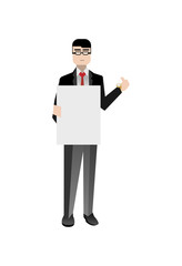 European businessman in business suit holding blank whiteboard. Corporate business people isolated vector illustration