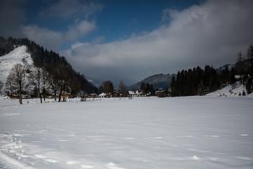 Winter in Bayrischzell, blue sky, snow