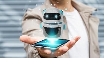 Businessman using digital chatbot robot application 3D rendering