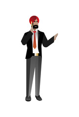 Indian bearded businessman talking on phone. Corporate business people isolated vector illustration