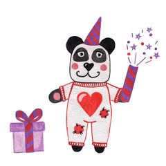 Panda with gift watercolor illustration isolated on white background