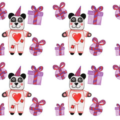 Seamless pattern with watercolorcute panda with greeting gift