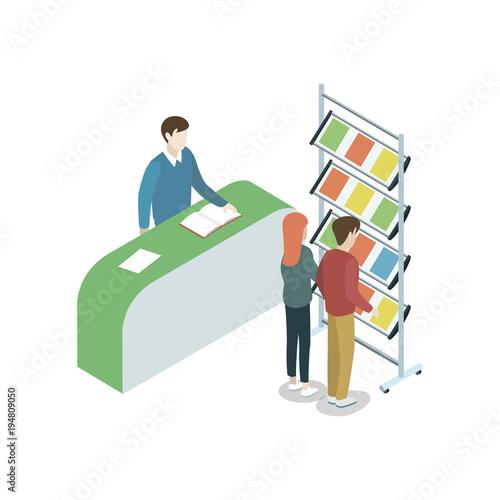 Exhibition Stand Reception Desk : Information stand at exhibition isometric d element reception