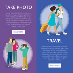 Travelling people vertical flyers set. Young couple take photo, tourists with travel bag and backpack. Travel around the world, active summer vacation, happy family weekend vector illustration.